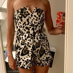 Top shop strapless leopard romper
